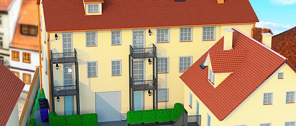 Denkmal-Mehrfamilienhaus im Stadtzentrum